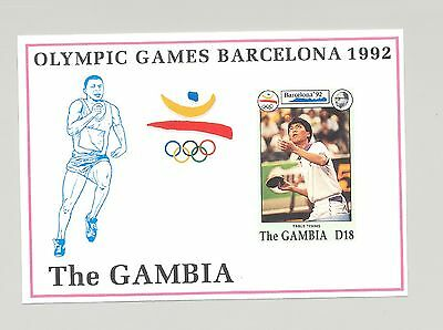 Gambia #1275 Barcelona Olympics, Table Tennis 1v S/S Imperf Proof