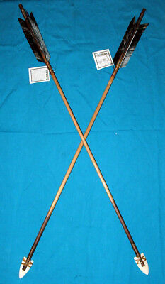 "Set of 2 Native American made Arrows 30"" L BLK & W Feathers Bone Arrowheads RJ32"