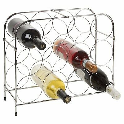 Modern 12 Wine Bottles Chrome Wire Metal Rack Storage Holder Bar Display Stand