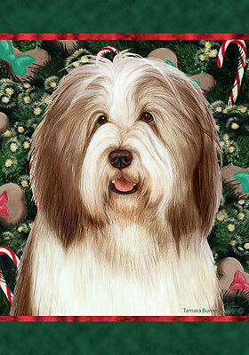 Garden Indoor/Outdoor Holiday Flag - Brown & White Bearded Collie 144821