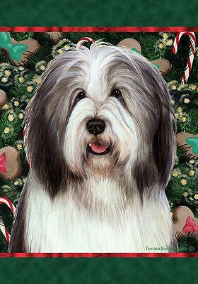 Garden Indoor/Outdoor Holiday Flag - Blue & White Bearded Collie 141701