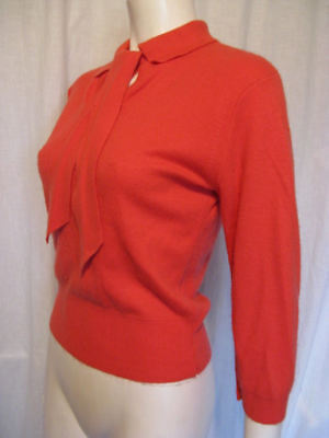 Vintage 50s CORAL Knit Pinup Bombshell Rockabilly Sweater Peter Pan Collar