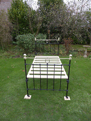 Victorian Cast Iron + Brass Bed. Large Single. Restored. Good Height!