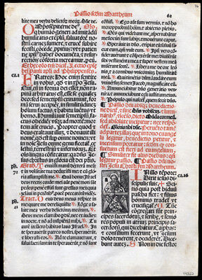 Palm Sunday The Passion of Our Lord Matthew 26 1-75 1566 Italian Missal Leaf