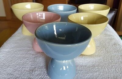 Vintage T.S. & T. Lu-Ray Pastels Set of 6 Double Egg Cups