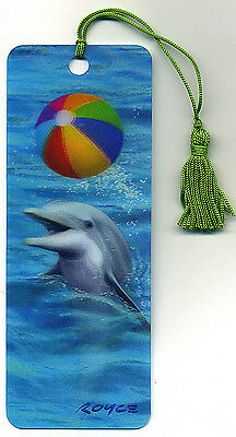 DOLPHIN with Beach Ball 3-D Lenticular Bookmark 2 1/4 by 6 inches FANTASTIC 3-D!
