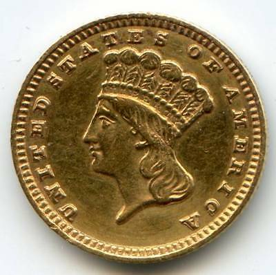 1883 $1 Gold, used in jewelry, EF details polished, spot of solder on reverse