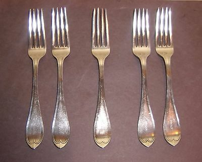 Pearce Heart Forks Silverplate Antique 1855 Rogers Int'l 2 pair Flatware