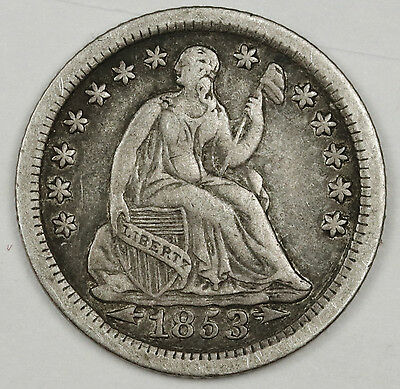 1853-o Liberty Seated Half Dime.  V.F.-X.F.  114036
