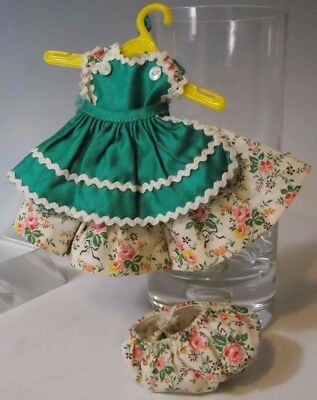 Vtg Madame Alexander Kins Doll Tagged Pink Rose Dress Bloomers Wendy Green Apron