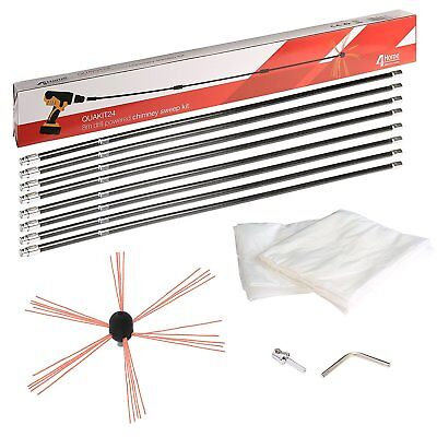 8M Drill Powered Chimney Sweep Brush Set Sweeper + FREE Plastic Soot Sheets