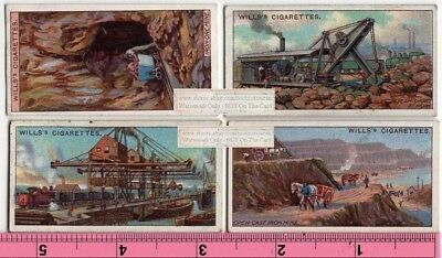 Lot of 4 Iron Mining Open Pit Equipment Turn Of Century 100+ Y/O Trade Ad Cards