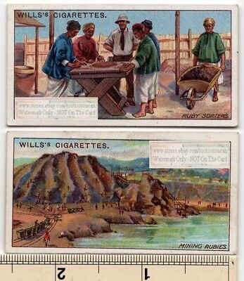 Lot of 2 Burma Ruby Mines  Chinese Workers Sorting 100+ Y/O Trade Ad Cards