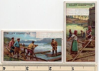 Lot of 2 Mining Platinum Alluvial Deposit Ural Russia 100+ Y/O Trade Ad Cards