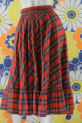 pure vintage jupe TRAPEZE T 36 A CARREAUX ROUGE VERT SWIMMING EVE gona skirt 16b8112742f9