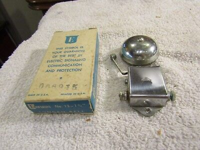 """Vintage Edwards Signaling Co Lungen Signal Alarm Bell 1 3/4"""" Chrome Bell No 13"""