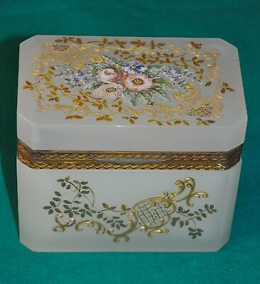 Antique Casket Box French Opaline , Green