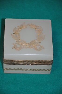 Antique Casket Box French Opaline , Green  ,  Small