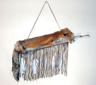 Red Fox pelt on Fringed Leather Quiver & 2 Arrows Authentic Native American #04
