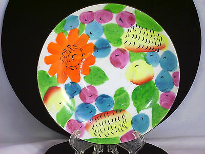 Decorative Collector Plate Colorful Fruit Flower Hand Painted Design Japan Vtg