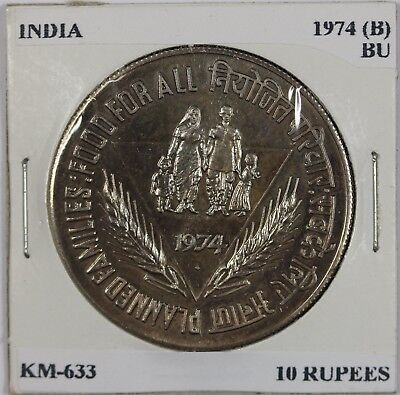 1974 (B) India 10 Rupees, BU, KM-633, Planned Families: Food For All