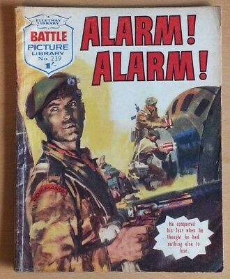 "BATTLE Picture Library # 239 ""Alarm Alarm"", war comic published February 1966."