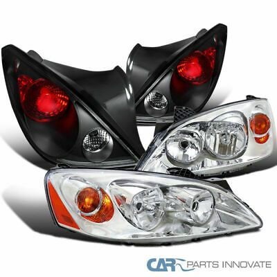Pontiac 06-09 G6 Coupe 2Dr Clear Lens Headlights+Black Tail Lights Parking Lamps