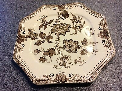 J.E. Wileman Brown Transfer-ware Chinese 9 1/2 in Plate