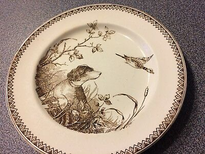 SHELLEY J.F. Wileman Brown Transfer-ware Sporting Scenes 7 1/2 in Plate