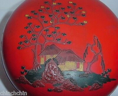 MUSEUM QUALITY Lacquer Wood Box ANTIQUE Signed Yoneji 1900 Ryukyu Natsume JAPAN