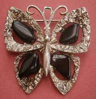 A429) A lovely vintage silver tone 70s style butterfly black gemstone brooch