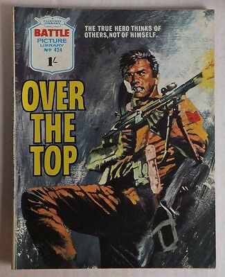"BATTLE Picture Library # 424 ""Over the Top"" 1969 pre-decimal issue, 1/- cover."
