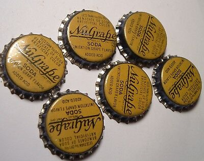 6 Six Pack of Nu Grape Soda Cork Lined Bottle Caps , the Toughest Style to find