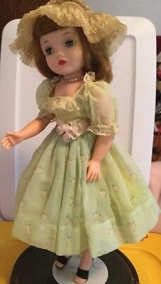 "Vintage Madame Alexander 20"" Cissy Doll Dressed In Spring Green Organdy Outfit"