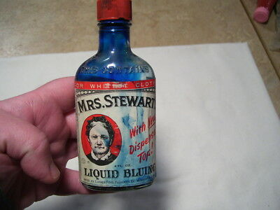 Antique Mrs. Stewart's Liquid Bluing Glass Ink Bottle