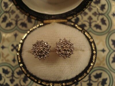 Pretty Vintage 70's 9CT Gold; Glittering Cluster Of Diamond Accents Set Earrings