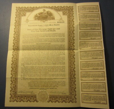 1930 CONSOLIDATED COPPER & GOLD MINES - BOND Certificate - British Columbia