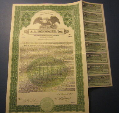 Old 1931 - A.A. HENNINGER INC. - GOLD Note BOND Certificate