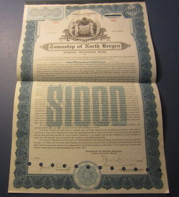 Old 1941 - TOWNSHIP OF NORTH BERGEN -  BOND Certificate - NEW JERSEY
