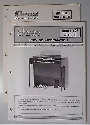 Original Thomas Organ Service Information Artiste Model 120-125/127
