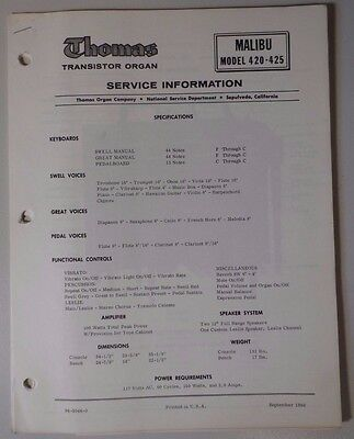 Original Thomas Organ Service Information Malibu 420-425