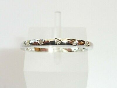 Ladies Sterling 925 Solid Silver 5 Stone Natural Diamond Eternity Ring