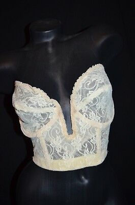 Vintage 50s Sexy LOW cut SHEER see through Lace Young Smoothie Bra - 38D