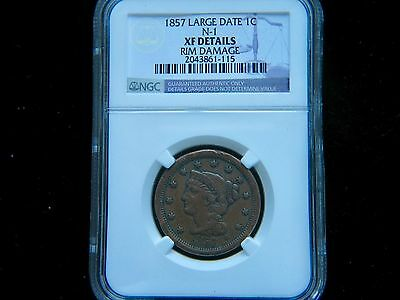 1857 1C Large Date BN Braided Hair Cent NGC XF Detail