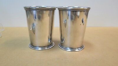 2 Barker Ellis Patrick Henry Mint Julep cups, England, 4 inches tall, excellent