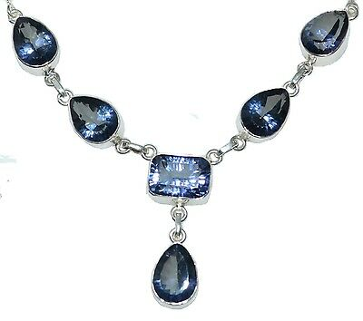 Mystic Blue Quartz 925 Sterling SILVER Necklace 925 Genuine HALLMARKED Jewellery