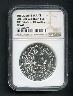 2017 Queen's Beasts 2oz Great Britain Silver Dragon of Wales NGC MS69