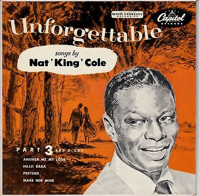 "7""-  Ep  - Nat 'king Cole  = Unforgettable   - ( 4 Songs )"