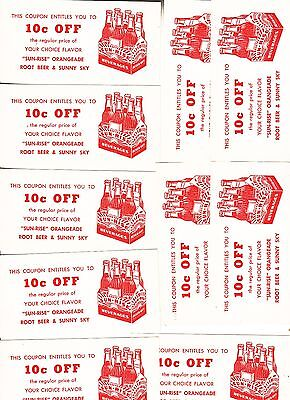 SUN-RISE BEVERAGE COUPONS (10) 10c OFF  1950S ???