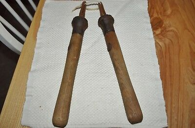 Vintage Antique PAIR OF HANDLES FOR A TWO-MAN CROSSCUT SAW LOGGERS LOGGING